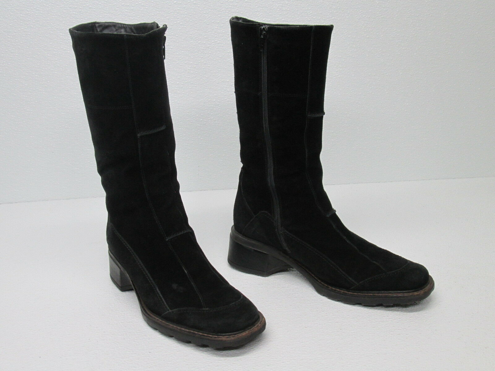 AQUATALIA  BLACK SUEDE ZIP MID CALF BOOTS LACE UP ACCENT Size WOMEN'S 9.5 M