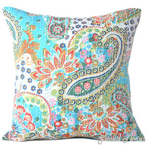 Cushion Cover Indian Handmade Kantha Work Cotton Vintage Pillow ...
