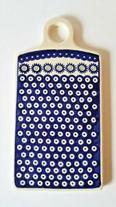 Boleslawiec-Polish-Pottery-Cutting-Board-Trivet-Blue-Circles-Ceramic-EUC