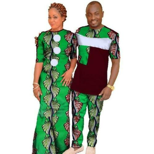 African Fashion Couple Clothes Man Top-Pants and Woman Dress Dashiki Wax V11703