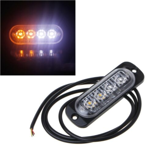 White/&Yellow 4 LED Emergency Strobe Light Bar Warning FlashTruck Car Headlight