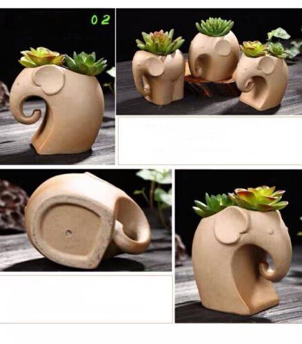 Set of 3 Elephant Clay Planters Terracotta Plant Pots