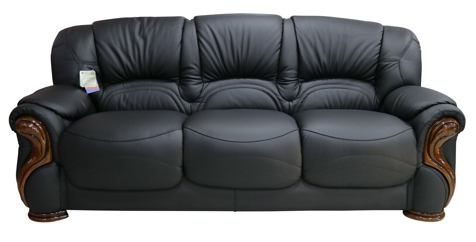 Details about Susanna 3 Seater Italian Black Leather Sofa Settee Couch  Contemporary