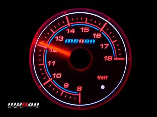 Megan Racing Version 2 Volt Voltage Meter Gauge Silver Face 52mm LED lamps
