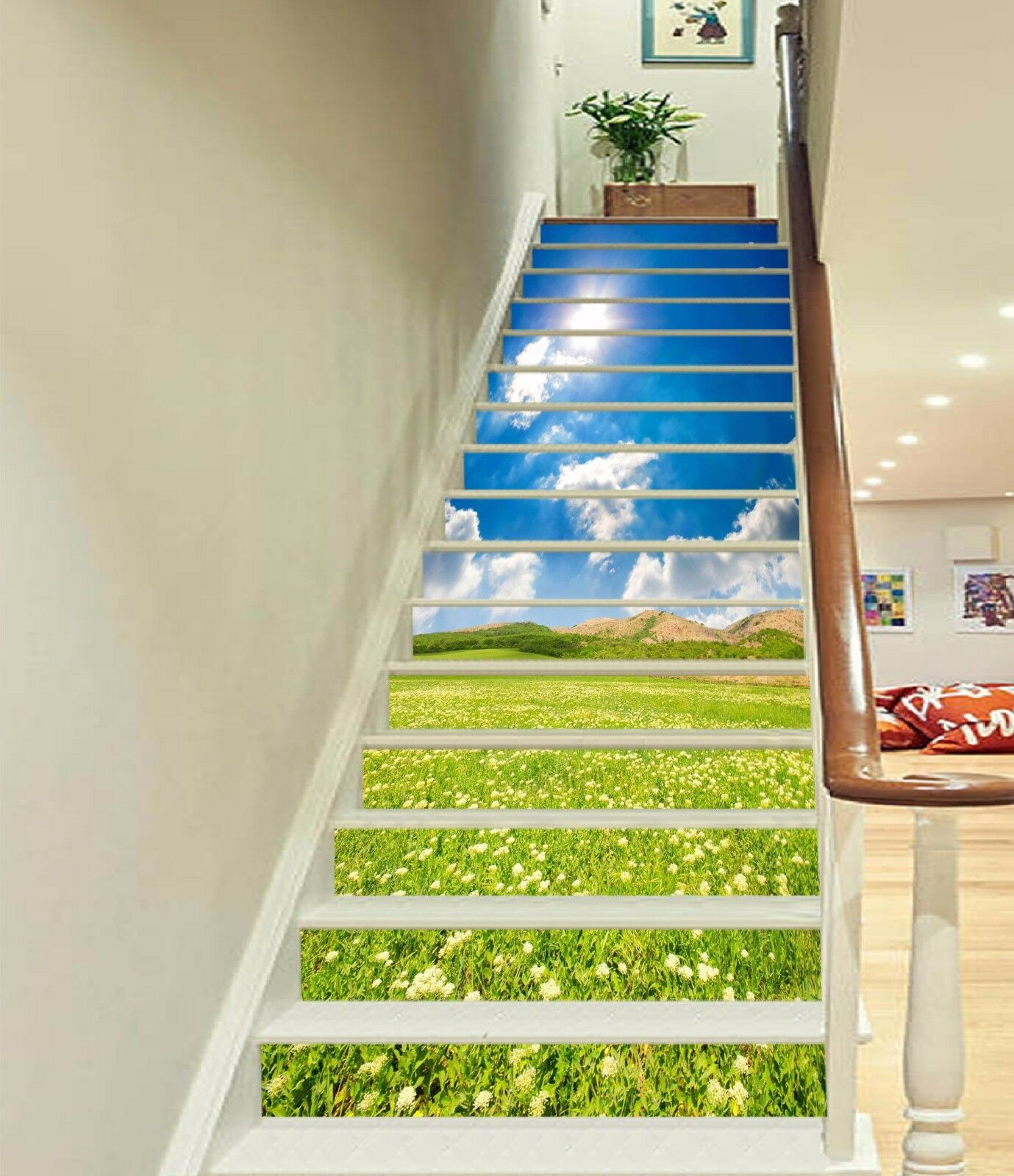 3D Grass Sky 665 Stair Risers Decoration Photo Mural Vinyl Decal Wallpaper UK