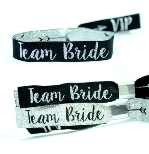 Hens Party Accessories Team Bride Silver /& Black Hen Party Wristbands