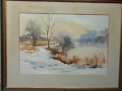SYDNEY FOLEY ROI RSMA 1916-2001 ORIGINAL SIGNED PAINTING 'JANUARY SNOWS'