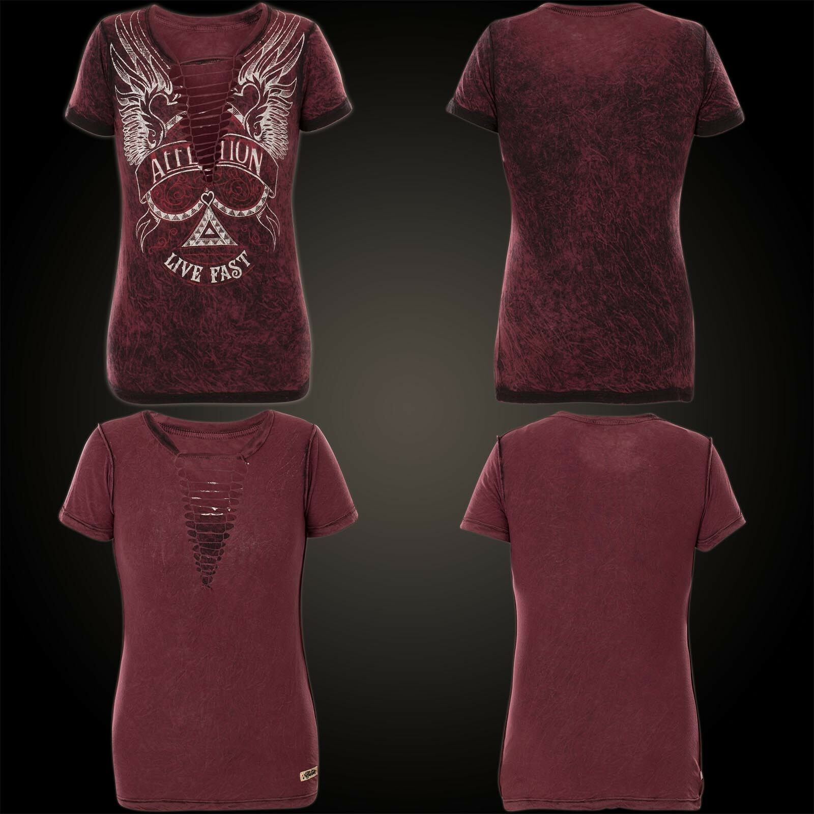 AFFLICTION Damen T-Shirt Starlett Rev. Weinrot
