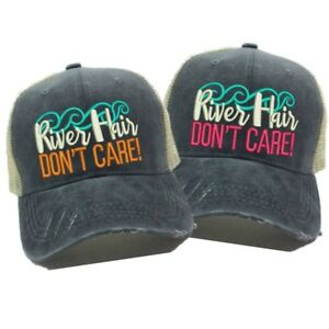 dcf07405 River Hair Don't Care Custom Embroidered Trucker Hat Distressed ...