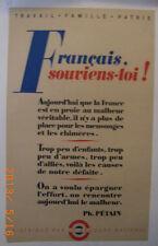 AFFICHE ANCIENNE  FRANCAIS SOUVIENS TOI ! GUERRE 1939/45  SECOURS NATIONAL
