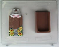 Bunny Looking Over Fence Pour Box Easter Chocolate Candy Mold Molds Favors