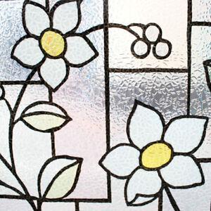 3d Embossed Blue Tinted Flower Textured Static Window Film Givré Glass Pvc-afficher Le Titre D'origine