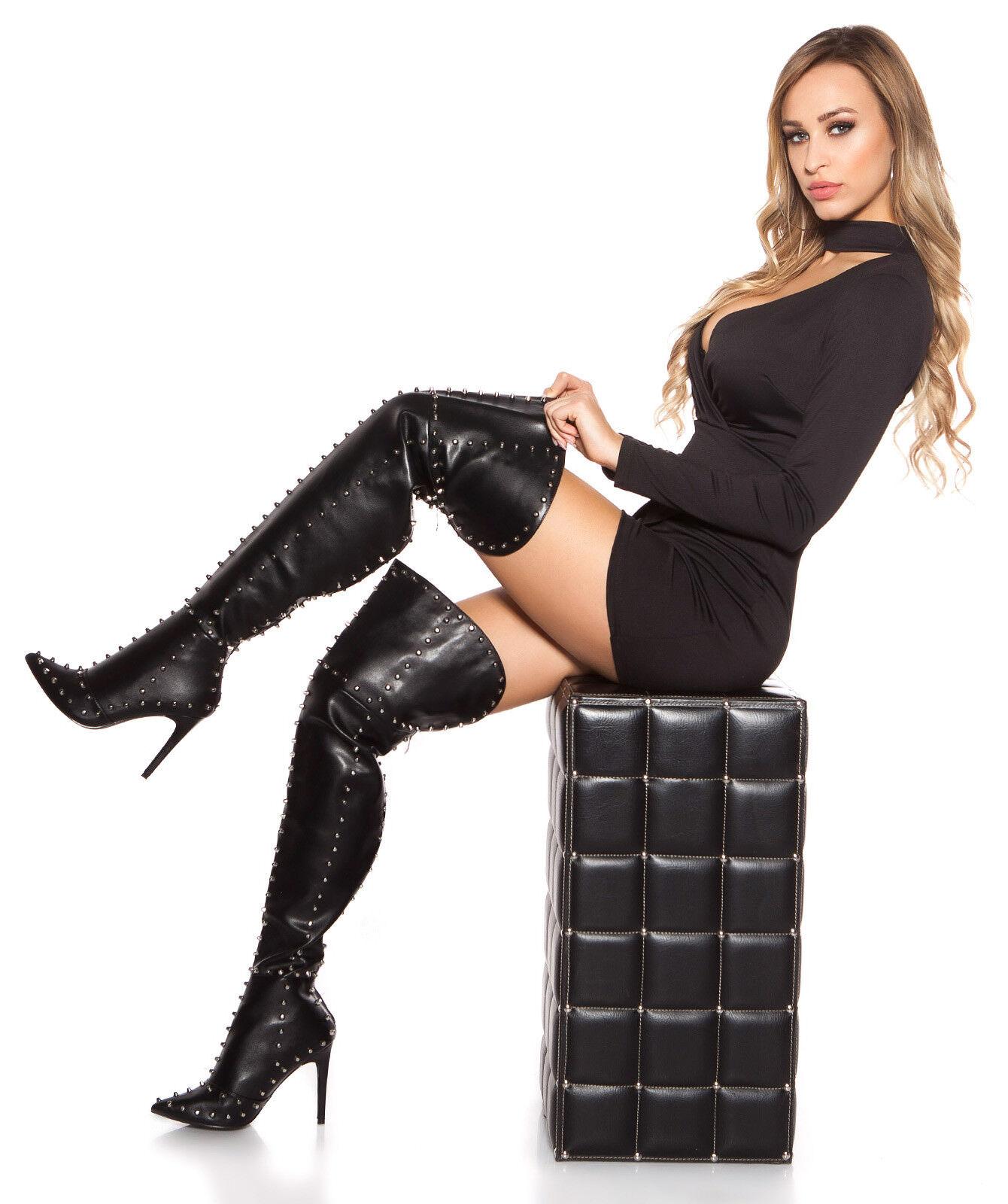Sexy Wow tacón alto cuero botas de plataforma tacones altos Gogo remaches tabledance