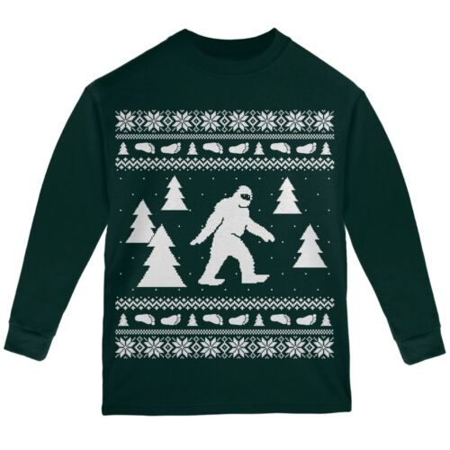 Sasquatch Ugly Christmas Sweater Forest Youth Long Sleeve T-Shirt