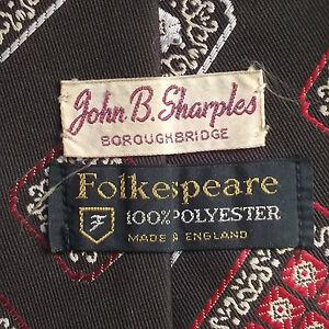 JOHN B SHARPLES BOROUGHBRIDGE VINTAGE WIDE TIE RETRO 1970s BY FOLKESPEARE BROWN