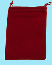 Chessex SMALL RED DICE BAG SUEDE Drawstring 4x6 Storage Pouch Velour Cloth RPG