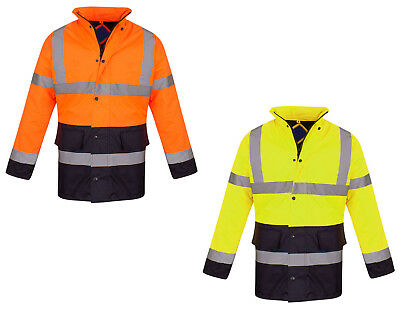 Warnen Hi Vis Parka Workwear Security Safety Fluorescent Hooded Work Wear Jacket Coat Eleganter Auftritt