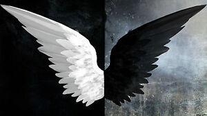 Noir-et-Blanc-Ailes-d-039-Ange-FANTASY-DARK-grande-toile-photo-imprime-20-x-30-in-environ-76-20-cm