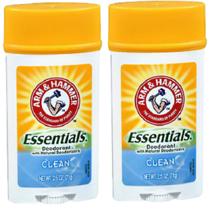 ARM & HAMMER Essentials Solid Deodorant, Clean, Wide Stick, 2.5 oz 2 Pack .