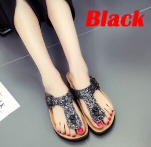 b6685e90d NEW Summer Women s Sandals Burken Lady Cork Sequin Black Beach Flip ...