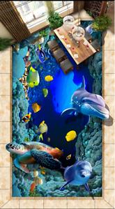 3D Marble Dolphin Sea 9 Floor Wall Paper Murals Wall Print AJ WALLPAPER UK Lemon