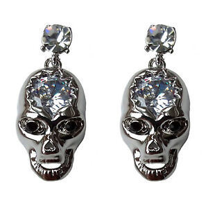 Diamante Jewelled Large CRYSTAL Skull Stud Earrings GIFT BOX Halloween PUNK - Cheshire, United Kingdom - The return postage cost will be borne by the Buyer and will not be refunded unless the product is faulty, defective or damaged. Most purchases from business sellers are protected by the Consumer Contract Regulations 2013 which g - Cheshire, United Kingdom