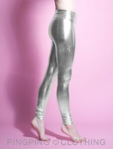 631556cb1822a Image is loading Metallic-Silver-Shiny-Spandex-Leggings-High-Waisted-Chrome-