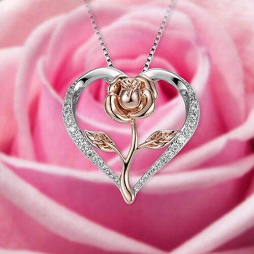 Frauen Two Tone Rose Blume Charme Herz Liebe Anhänger Halskette Schmuck flY Neu