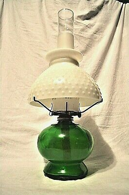 Oil Lamp with Hobnail Milk Glass Shade Free Shipping Vintage