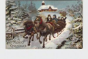 ANTIQUE-POSTCARD-MERRY-CHRISTMAS-HORSES-PULLING-SLEIGH-THROUGH-SNOW-COVERED-LAND