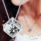 Korea Damen Kristall Cube Halskette Kette Anhänger Würfel silber Strass Schmuck