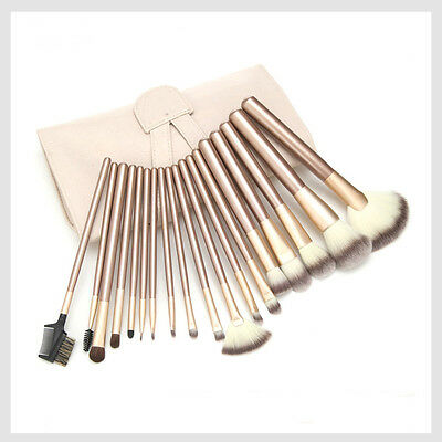 Professional 12/18/24pcs Cosmetic Makeup Powder Blush Brush Set With Leather Bag