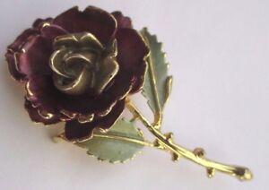 Confiant Broche Bijou Vintage La Rose Couleur Or Finement Travaillée émail Mauve 2795