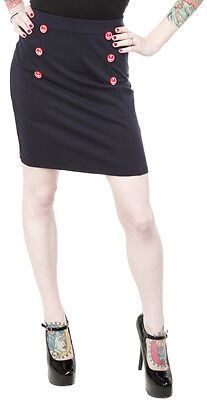 130166 Navy Blue with Red Anchor Buttons Sailor Bop Skirt Sourpuss Small S Retro