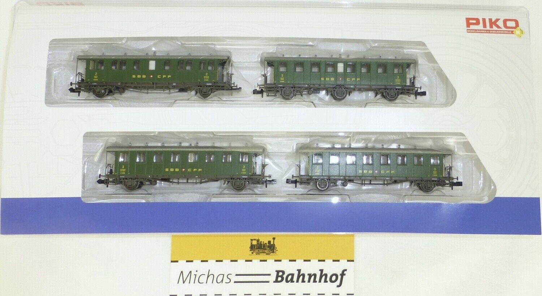 Sbb-swiss military swiss oldtimerwagen set of 6 piko 94345 n 1 160 new Emb.