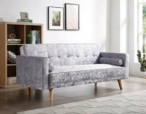 Details about Scandinavian Style Sofa Bed 3 Seater Modern Design Fabric  Solid Wood Click-clack