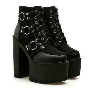 Details about  /Womens Punk Platform Biker Boots Block High Heel Lace Up Riding Ankle Boots Size