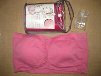 "Braza ""Wild Card"" Bandeau Bra Raspberry Pink Strapless or Clear Straps XL 16-18"
