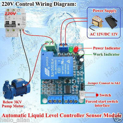 AC/DC 12V Automatic Liquid Level Controller Module Water Level Detection Sensor
