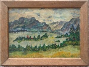 Expressionist-Oil-Painting-View-in-a-Valley-Antique-Frame-Alpine-Landscape-Church