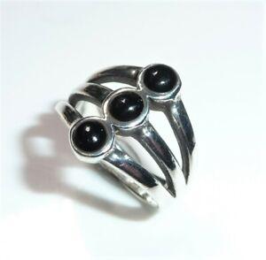 Silver Ring 3x Black Onyx - 925 Silver Size 53/17 MM Um 1970