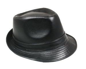 c047a128 Black Faux Leather Fedora Adult Hat M/L One Size Gangster Trilby Hat ...