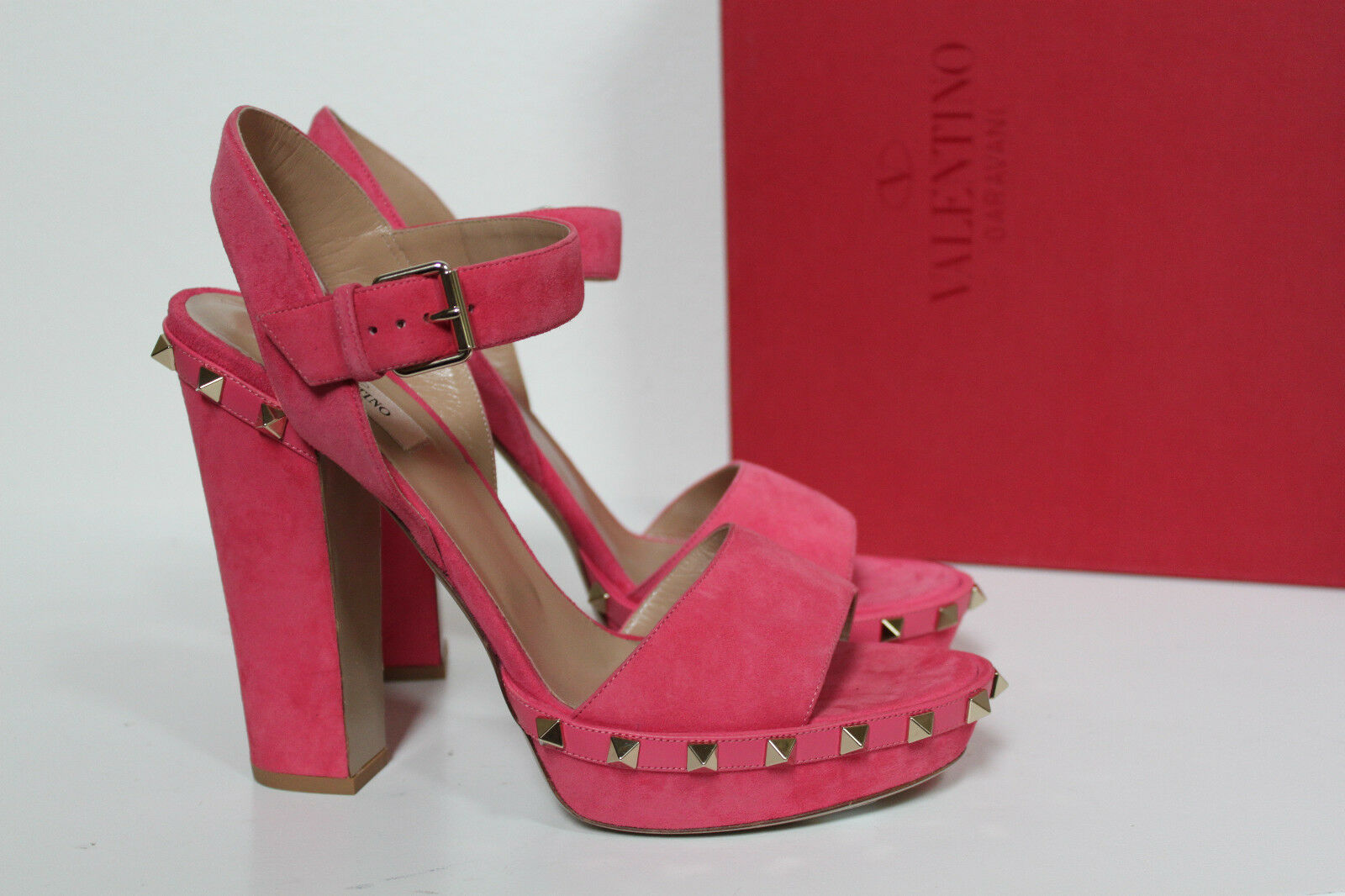 New sz 9.5   40 Valentino Rockstud Rosa Suede Platform Ankle Sandal Block schuhe