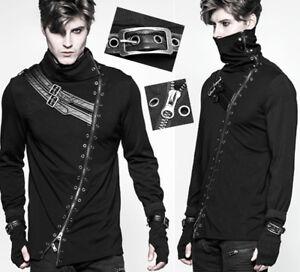 Gothique Punk Sangles Zippé Mitaine Haut Steampunk Shirt Masque T thBQCsdxr