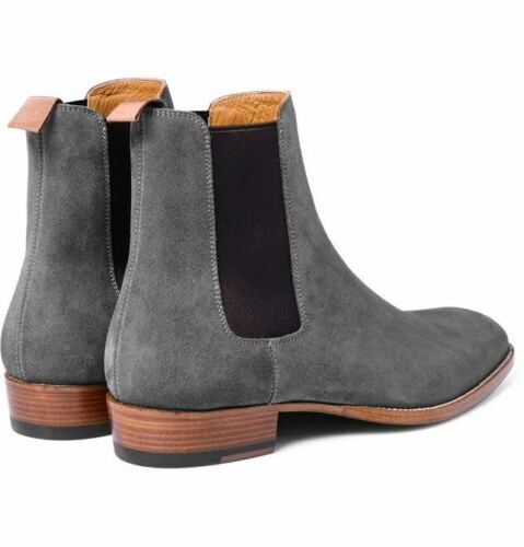 Men boot Men suede leather ankle boot Handmade Mens fashion Gray Chelsea boots