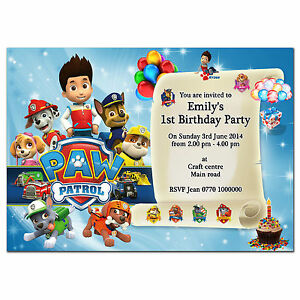 Image Is Loading I45 Paw Patrol Personalised Invitations Thank You Cards1st