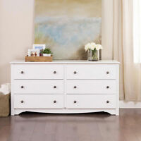 White 6-drawer dresser Lounge Furniture Bed Room Storage Organizer Accent