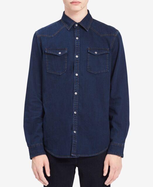 Calvin Klein Jeans Men S Long Sleeve Denim Western Button Down Shirt