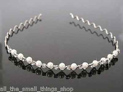 Child's diamante pearl tiara headband hairband aliceband bridesmaid wedding