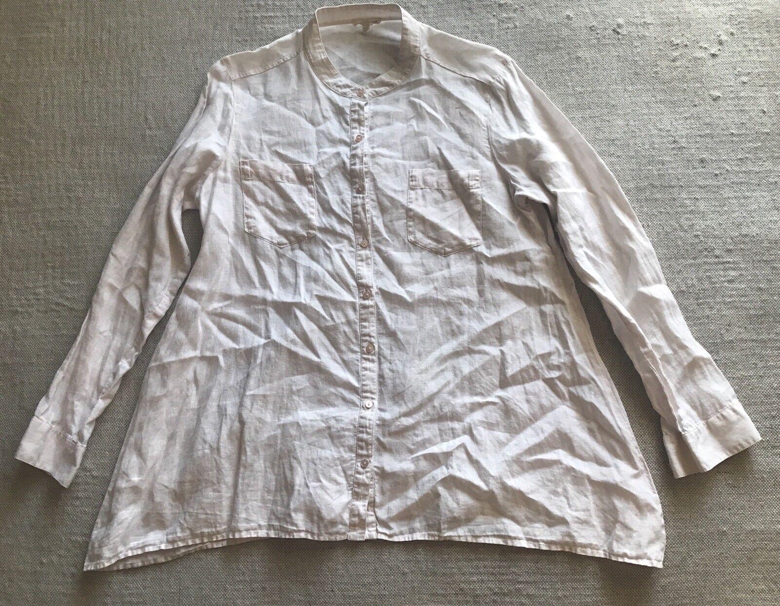 EILEEN FISHER Organic Irish Linen femmes's Button Front Shirt Taille M  G2